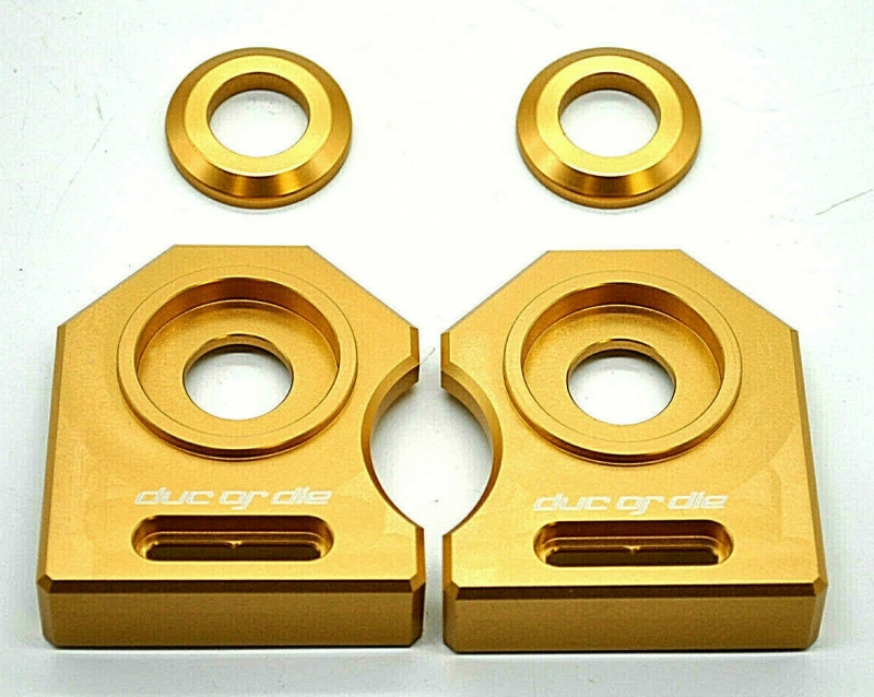 NEU Ducati M900 888 ST2  u.a.  Kettenspanner Achsplatte Schwinge Schutz gold
